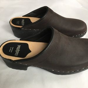 9-9.5 CLOGS Sweden HASBEENS brown leather classic